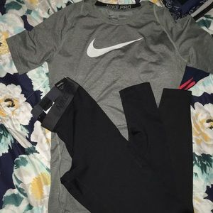 NIKE PRO TRAINING OUTFIT TEE + TIGHTs SET